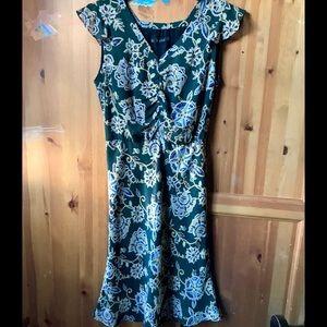Zara Green Floral Ruffle Sleeveless Midi Dress